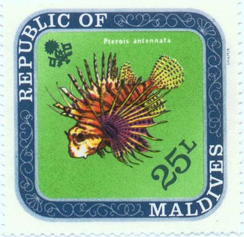 Рыба изображена на почтовых марках Крылатка антенновая, Pterois antennata